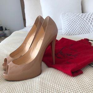 Christian Louboutin Shoes - Christian Louboutin Peep Toe Nude Heels